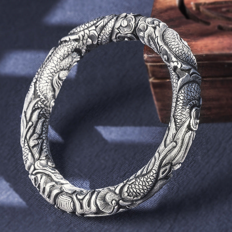 Two Dragons Pure 999 Silver Bangle (13)