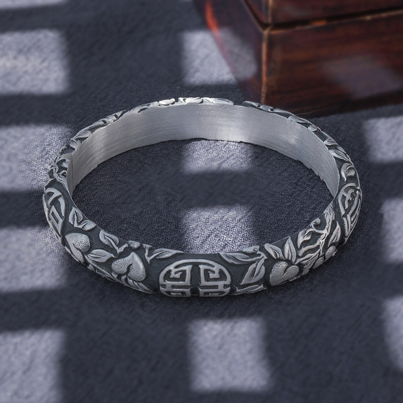 Vintage Style Pure 999 Silver Bangle (136)