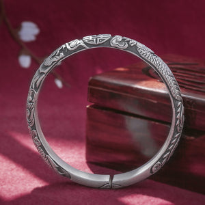 Vintage Style Pure 999 Silver Bangle (135)