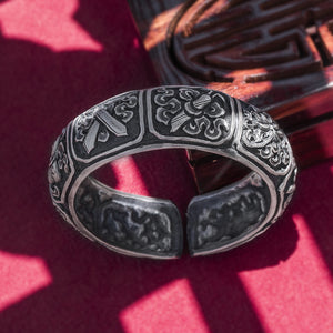 Vintage Flower Pure 999 Silver Bangle (117)