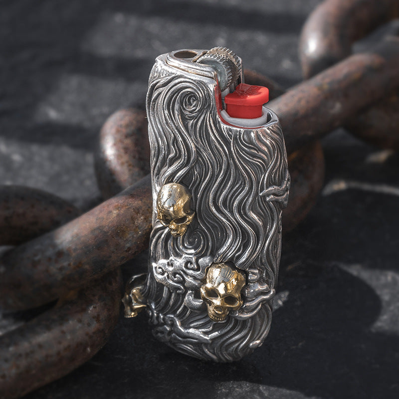 Skull Pure Silver Lighter Case