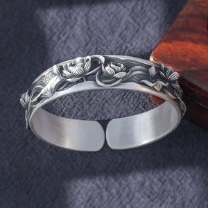 Vintage Flower Pure 999 Silver Bangle (115)
