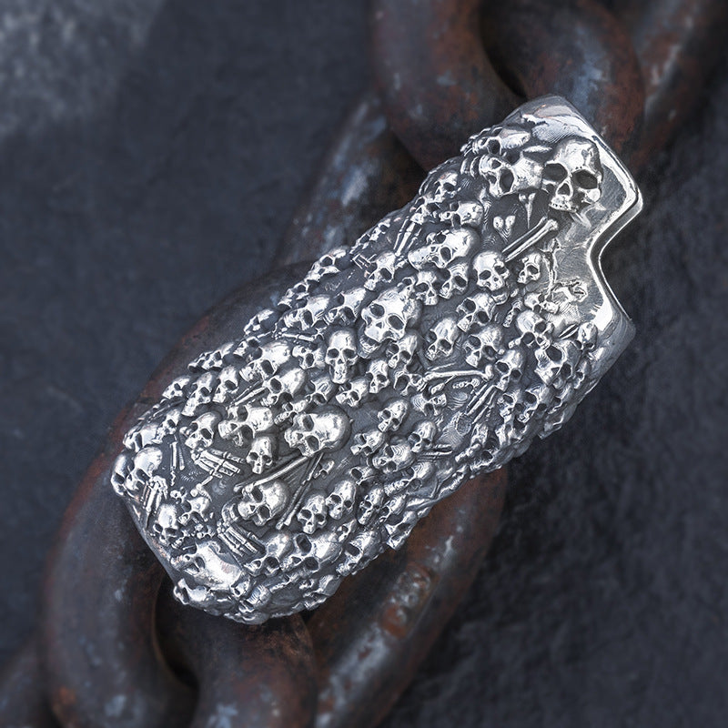Gothic Skull Pure Silver Lighter Case