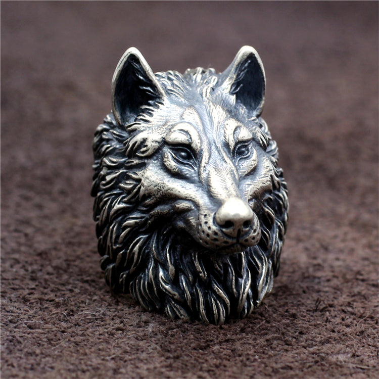 Large Wolfhead Pure 925 Silver Ring