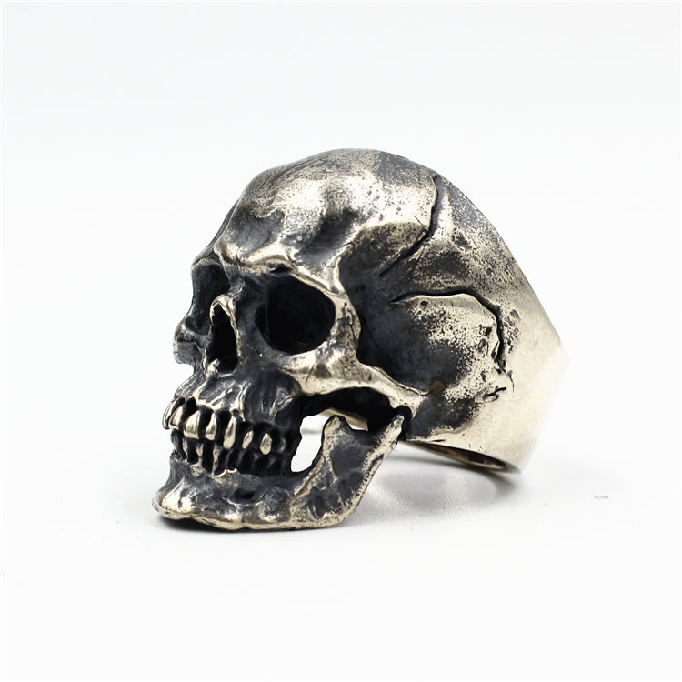 Medium Punk Biker Skull Pure 925 Silver Ring
