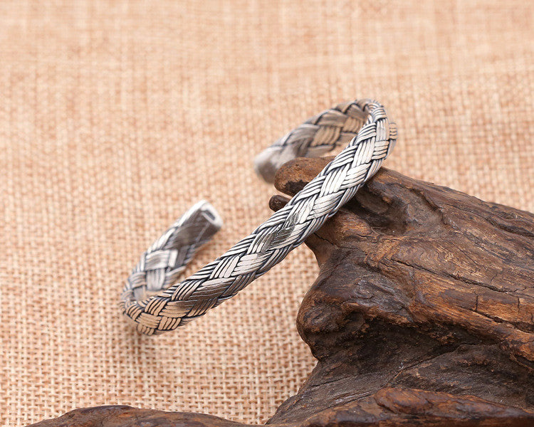 Vintage Knit Style Pure 925 Silver Bangle