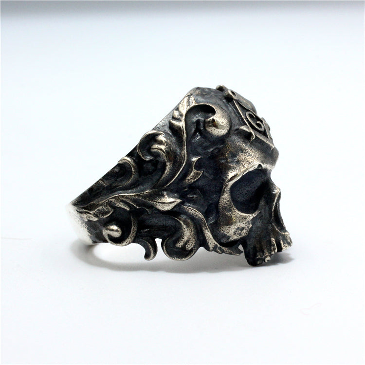 Free Masons Skull Pure 925 Silver Ring