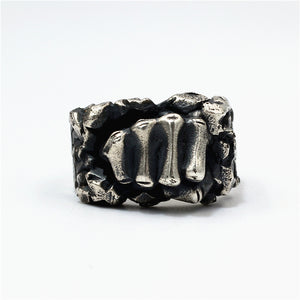 Breaking Rock Fist Pure 925 Silver Ring
