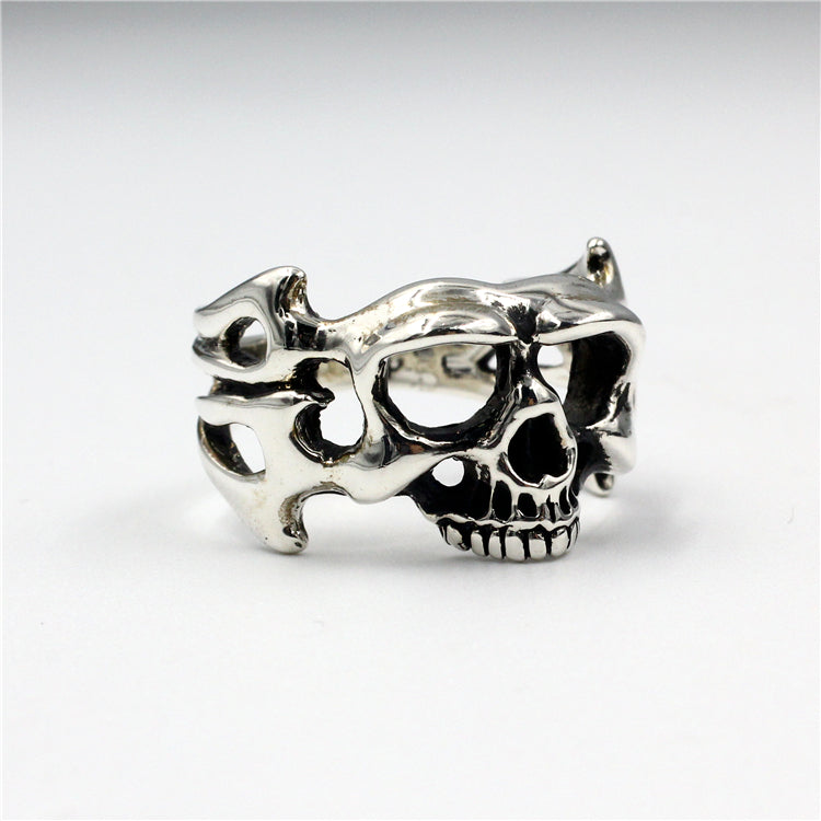 Small Punk Devil Skull Pure 925 Silver Ring