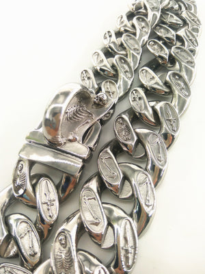 Stainless Silver/Handmande Skull Fantasy Large Dog Chain (35mm/1.38 inches Width)