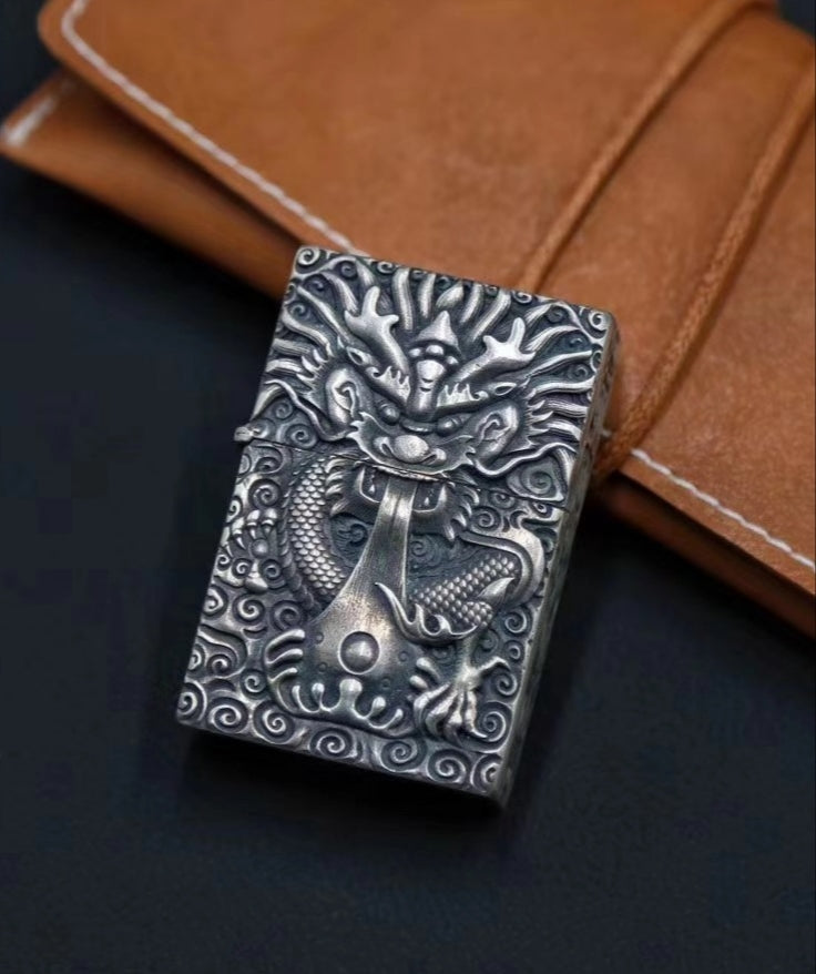 Flying Dragon Pure Silver ZIPPO Lighter Case