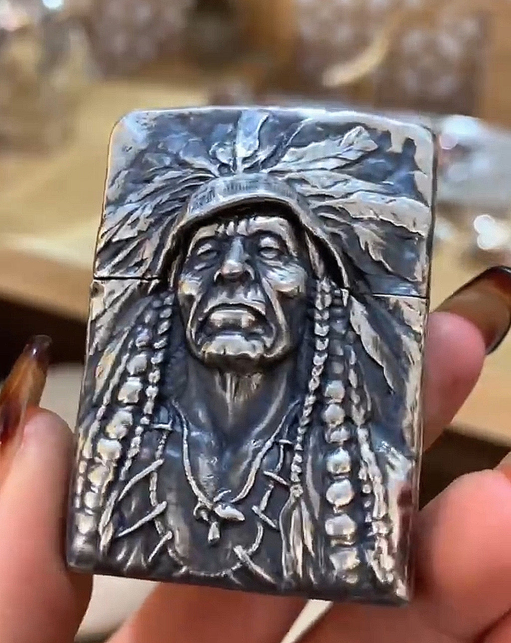 Native Chief Pure Silver ZIPPO Lighter Case