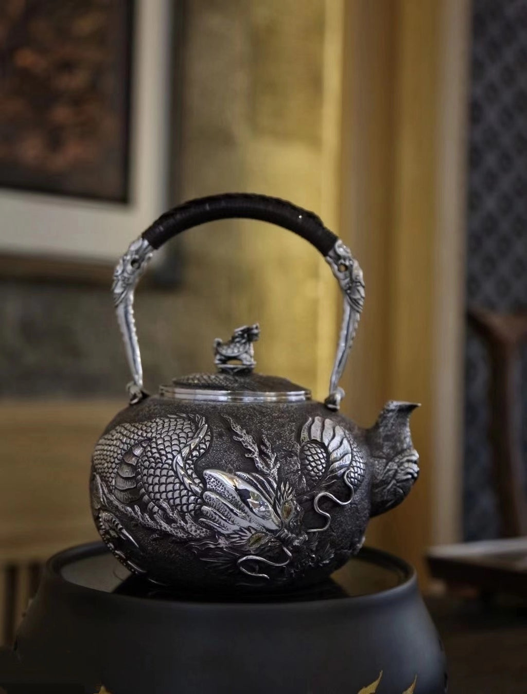 Dragon Pattern Pure 999 Silver Pot (3)