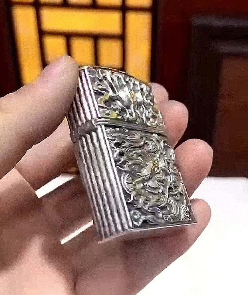 Dragon Pure Silver ZIPPO Lighter Case