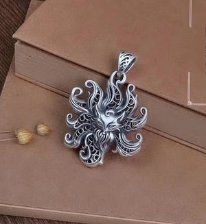 Nine-tailed Fox Pure Silver Pendant