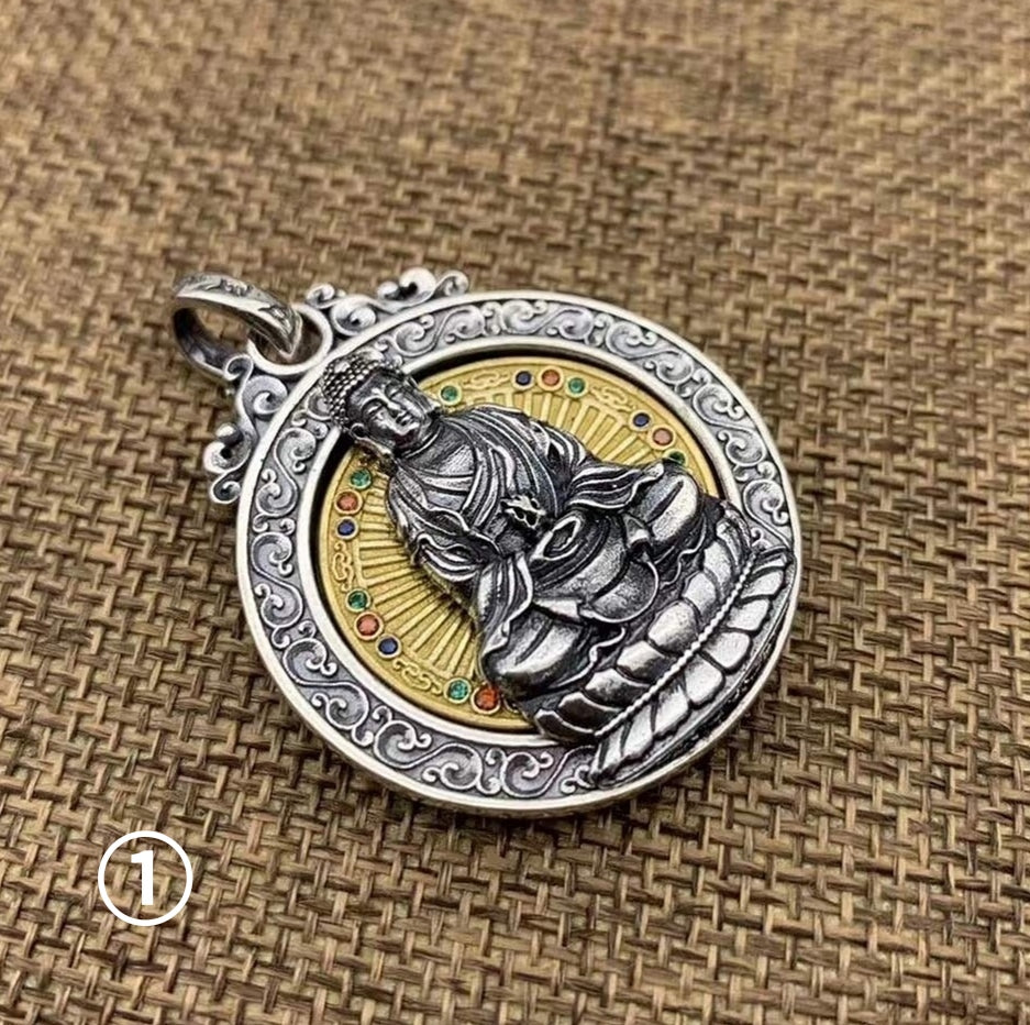 Rotatable Buddha Collection Pure Silver Pendant