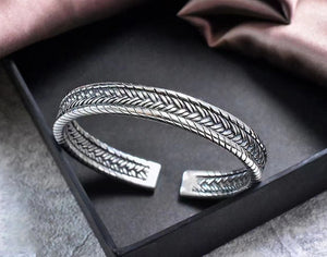 Vintage Braided Pure 999 Silver Bangle