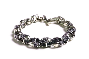 Double Face Skull Pure Silver Bracelet