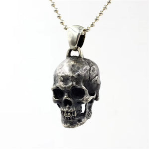 Classic Large Punk Skull Pure 925 Silver Pendant