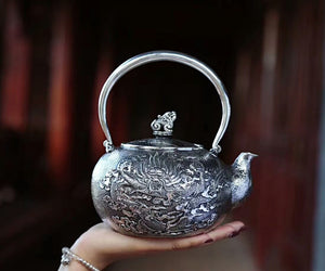 Dragon Pattern Pure 999 Silver Pot (1)