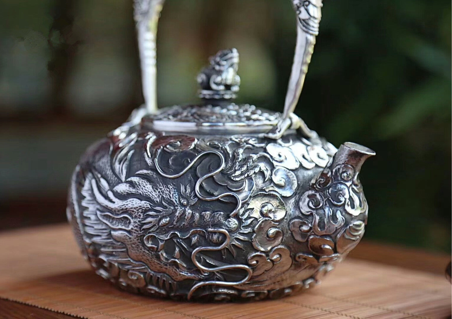 Dragon Pattern Pure 999 Silver Pot (2)
