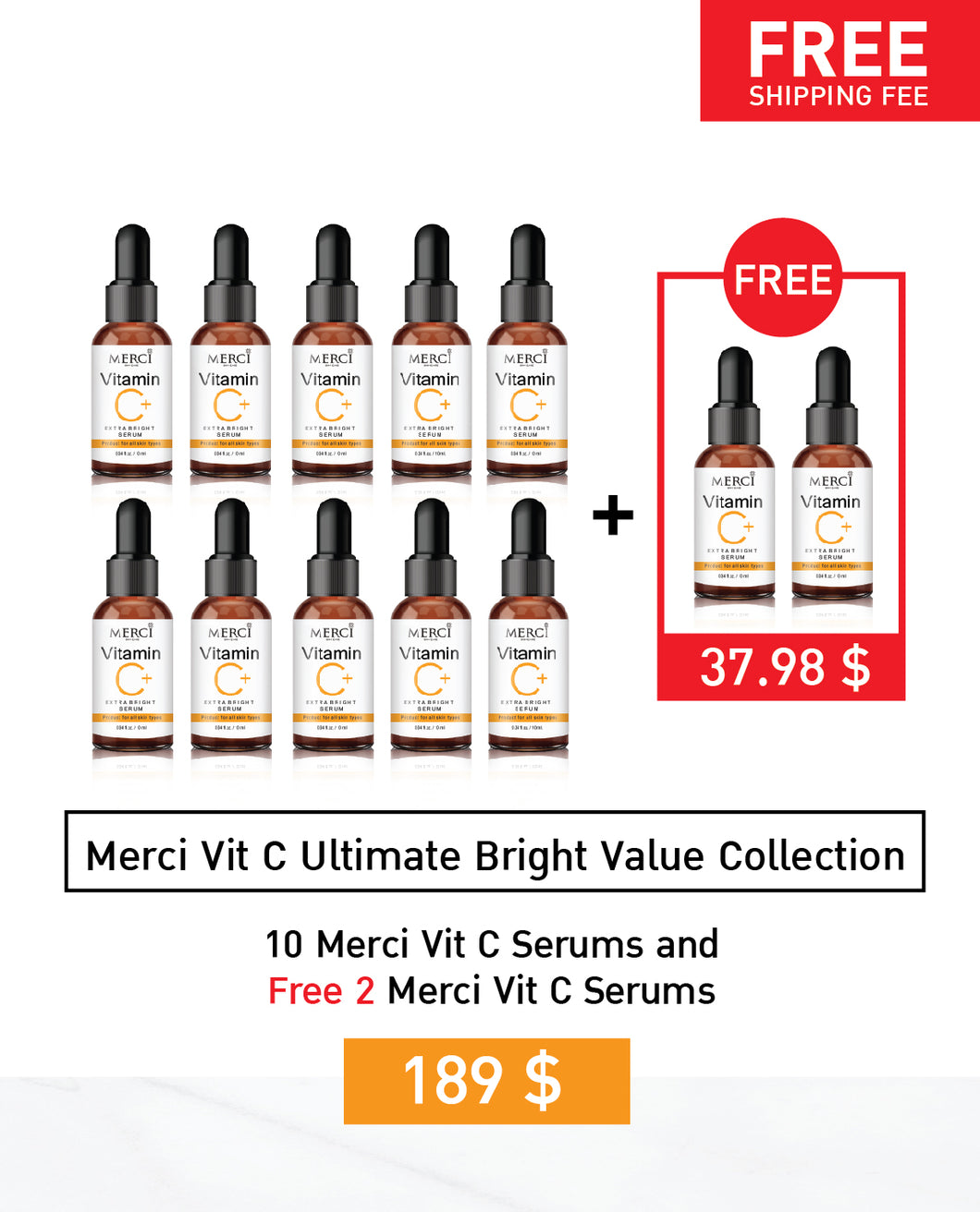Merci Vit C Ultimate Bright Value Collection | 10+2 Free Vit C Serum