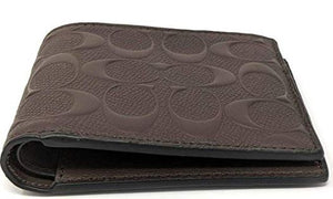Coach Compact Id Signature  Crossgrain Leather Mens Wallet (Mahagony)
