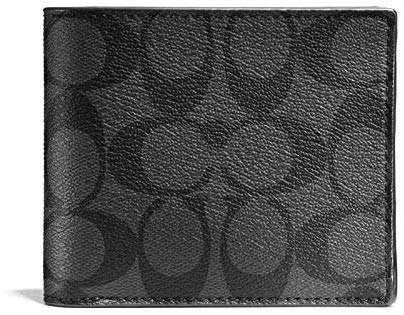 Coach Mens Compact Id Signature  Crossgrain Leather Wallet (Chacoal Black)