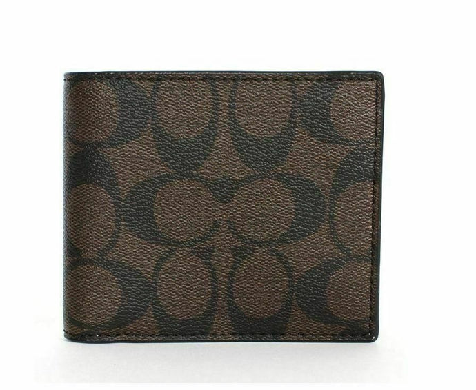 Coach Mens Compact Id Signature  Crossgrain Leather Wallet (Black Brown)