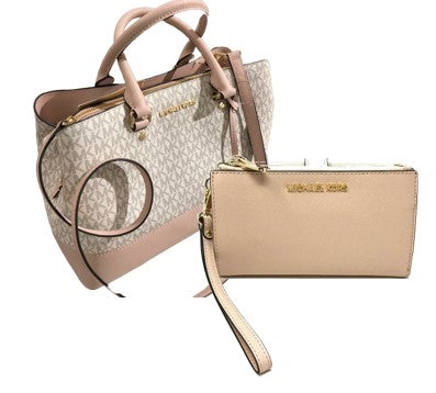Michael Kors Leather Satchel Crossbody Handbag + Wristlet (Blossom)