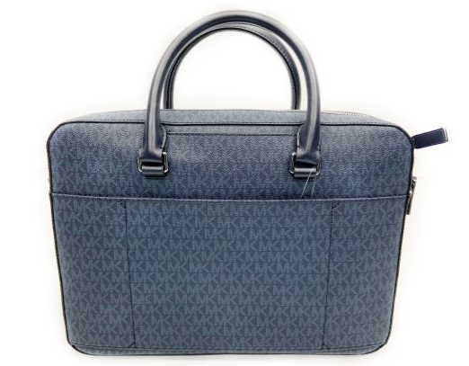 Michael Kors Harrison Coated Canvas Jet Set Logo Laptop Bag (Blue)
