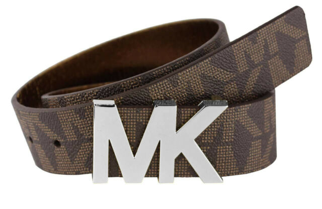 Michael Kors Logo Signature Leather MK Plaque Buckle Belt (Brown)
