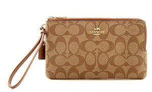 Coach Double Zip Wallet In Signature Canvas (Light Brown)