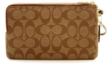 Load image into Gallery viewer, Coach Double Zip Wallet In Signature Canvas (Light Brown)