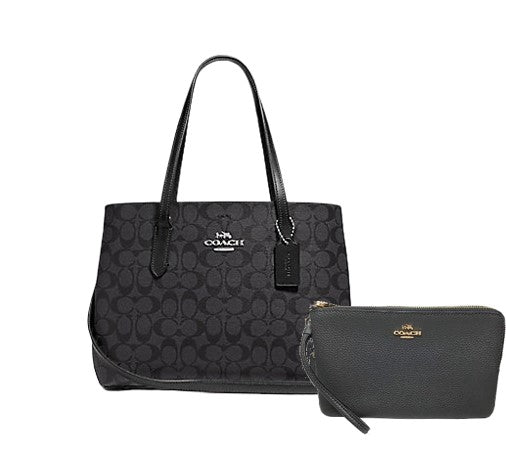Coach Avenue Carryall In Signature Canvas + Double Zip Wallet (Black)