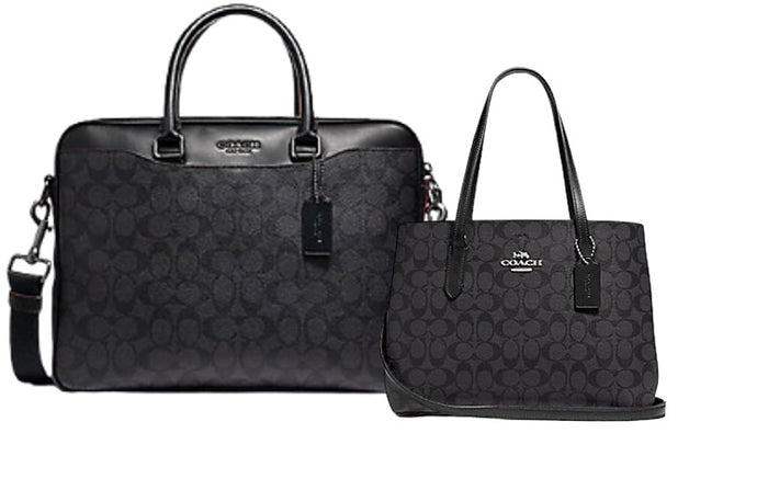 Coach Beckett Signature Leather Laptop Bag+ Avenue Carryall Signature Canvas Tote (Black)