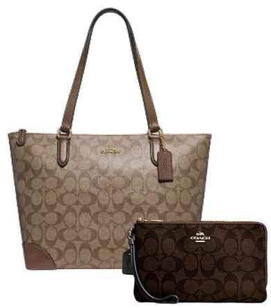 Coach Zip Top Signature Canvas Tote + Double Zip Wallet (Khakhee & Black Brown)