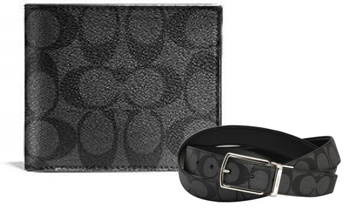 Coach Wallet + Reversible Belt (Black)