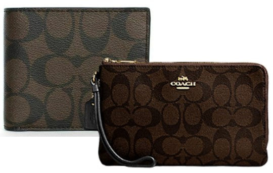 Coach Double Zip Signature Canvas Wallet + Men's Signature leather Wallet