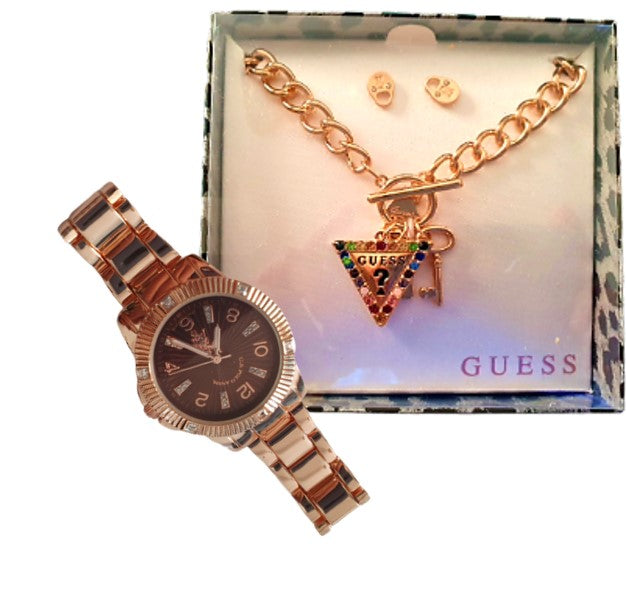 Guess Logo Charm Bracelet Set (Triangle) + US Polo Watch (Gold)