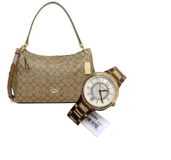 Coach Mia Shoulder Signature Canvas Bag (Saddle) + Michael kors Watch (Gold)