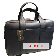 Load image into Gallery viewer, Michael Kors Russel Leather Laptop Bag - Navy Blue