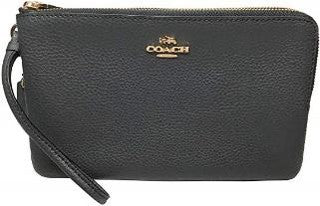 Coach Double Zip Wallet In Signature Canvas (Black)