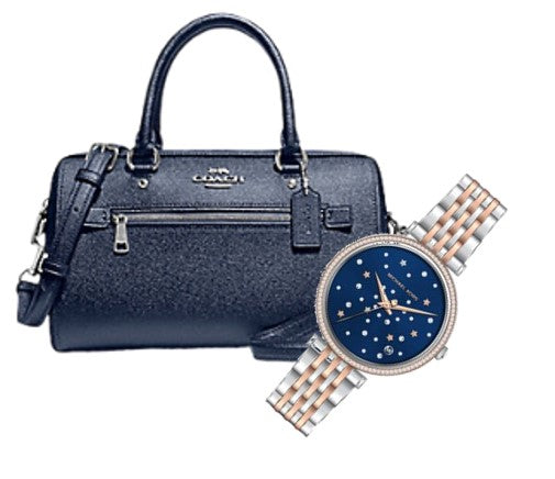 COACH Rowan Satchel In Signature Canvas + Michael Kors Watch (Metallic Blue)