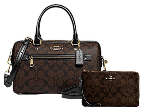 COACH Rowan Satchel In Signature Canvas + Double Zip Wallet (Brown)