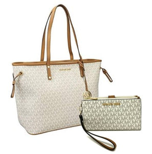 Michael Kors - Jet Set Travel Tote Signature Bag + Wirstlet (Vanila)