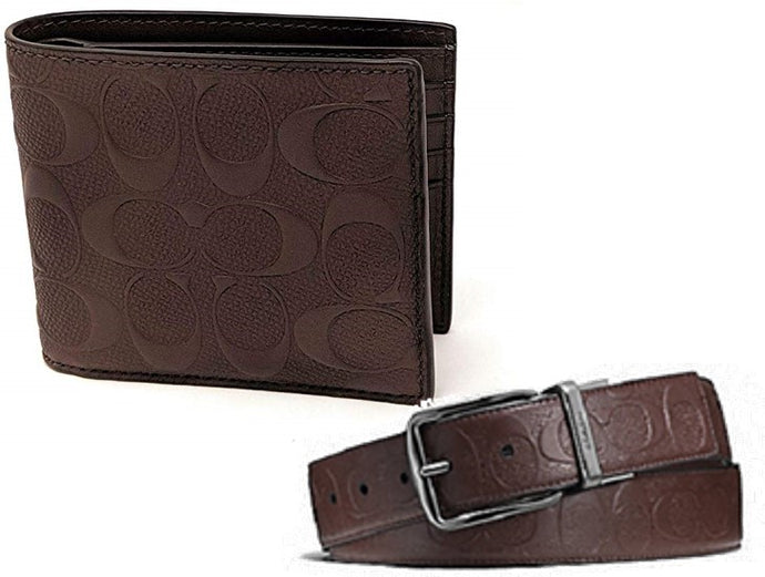 Coach Men's Signature  Crossgrain Leather Wallet + Wide Harness Reversible Belt