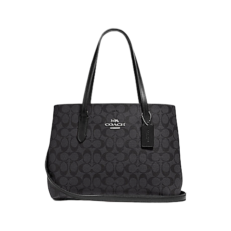 Coach Shoulder Bag Zip Top In Signature Canvas Tote (Black Smoke)