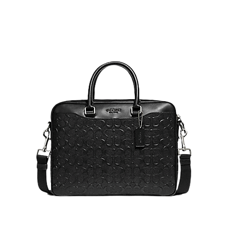 Coach Beckett Compact Laptop Bag In Signature Leather (Black)