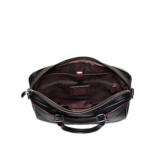 Load image into Gallery viewer, Coach Beckett Compact Laptop Bag In Signature Leather (Black Brown)